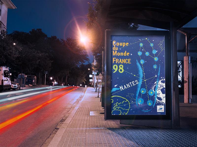 Affiche coupe du monde de football 98 nantes